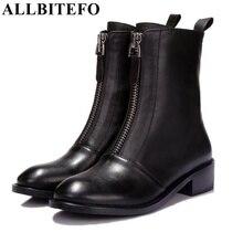 Allbitefo calcanhar plana moda casual zipper ankle boots de couro genuíno plataforma dedo do pé redondo martin botas de outono/inverno mulheres botas
