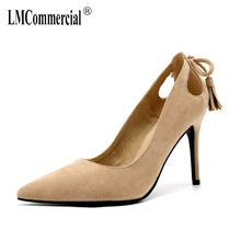 Comfortable suede fringed bow high heel Korean version pointed high heel shoes spring women shoes high hee  bridal shoes Female