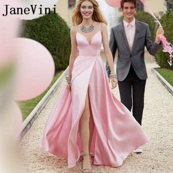 JaneVini Elegant Long Pink Prom Dresses 2019 Women Sexy High Slit Satin V Neck Evening Dress Backless Engagement Party Gowns