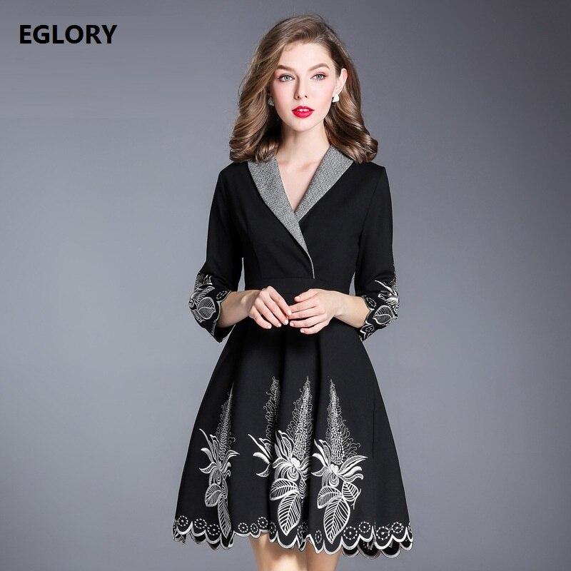 2019 Taille Robe Coton Printemps A Grande down Xxxl Vintage Robes Lux ligne Turn Nouvelle Broderie Femmes Collar Vêtements qEwg4XR