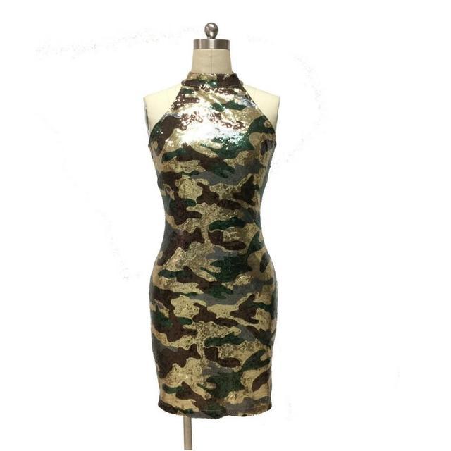 554b6d74 2017 New Fashion Sleeveless Camo Camouflage Sequin Dress Bodycon Dress  Party Dress Vestidos Flapper Dress
