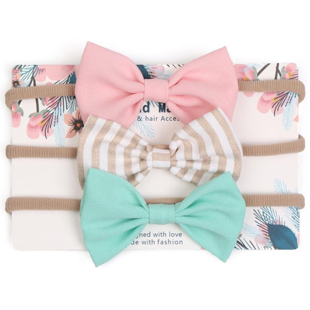 3Pcs/Set Elastic Fashion Soft Baby Headband Unisex Lovely Floral Bowknot Headwear Hair Accessories Headwrap For Children