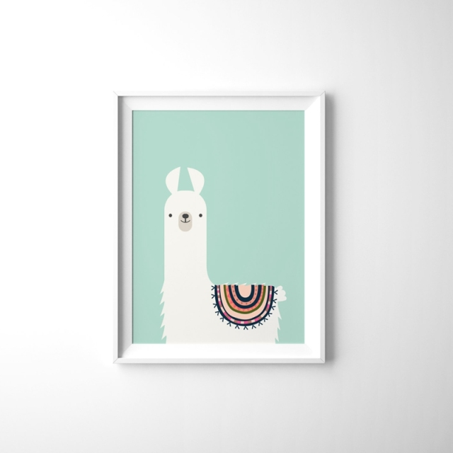 Cute Animal Llama Canvas Art Print Painting Poster Kids Room Tribal Wall