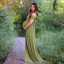 Maternity Jersey Dress For Photo Shooting Slash Neck Maternity Photography Props Gown Short Sleeve Stretchy Dresses