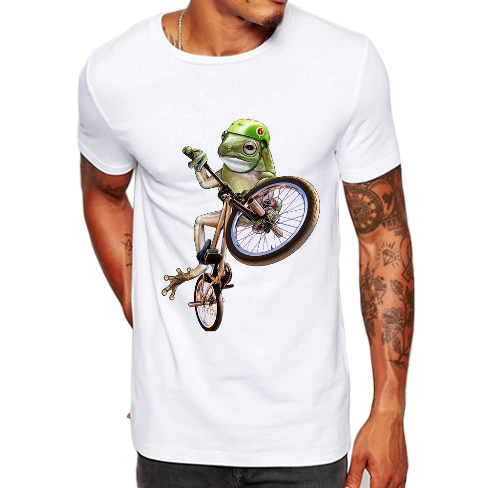 2018 New Brand Mens Bicycle Frog Guardian Printed Summer T-Shirt Short Sleeve O-Neck Modal Hipster Tops Tees la432