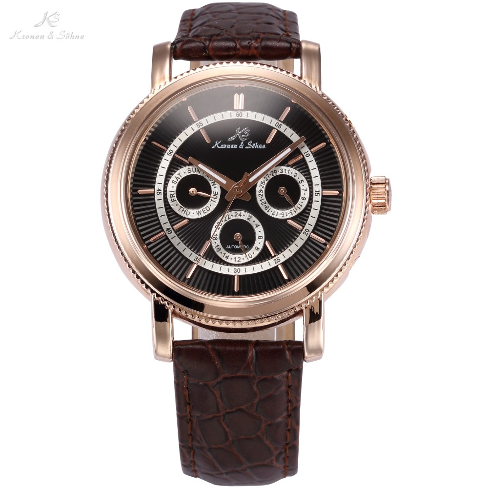 KS Luxury Brand Date 24Hrs reloj hombre Rose Gold Stainless Steel Case Leather Band Self Wind Mechanical Men Casual Watch /KS248 luxury brand t winner self wind mechanical watch men date display watches modern stainless steel band casual men clock gift 2017
