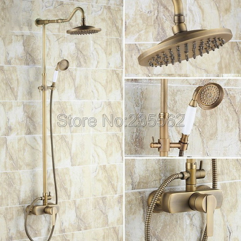 Antique Brass Single Handle Bathroom Rain Shower Faucet Set Wall Mounted Cold and Hot Water Shower Mixer Tap + Hand Spray lrs206