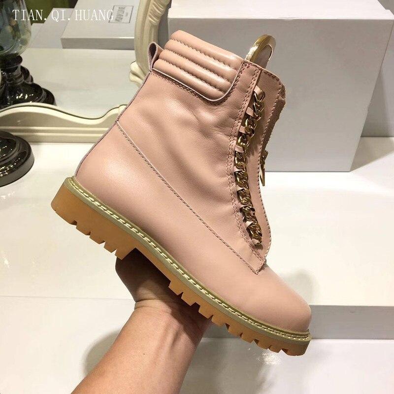 Neue Stil Frau Aus Echtem Design Stiefel rosa Hochwertige Schuhe Apricot Leder Winter Mode Klassische Stiefeletten Frauen schwarzes rrwRdq
