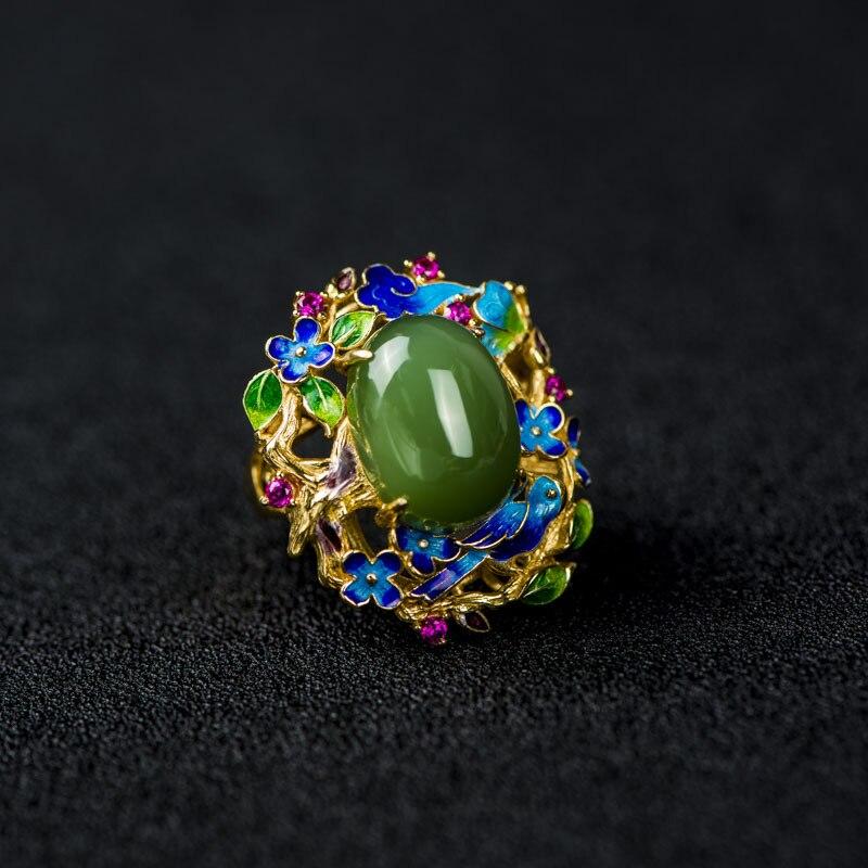 925 bague en argent cloisonné artisanat émail papillon fleur incrusté pierre naturelle bague en argent - 2
