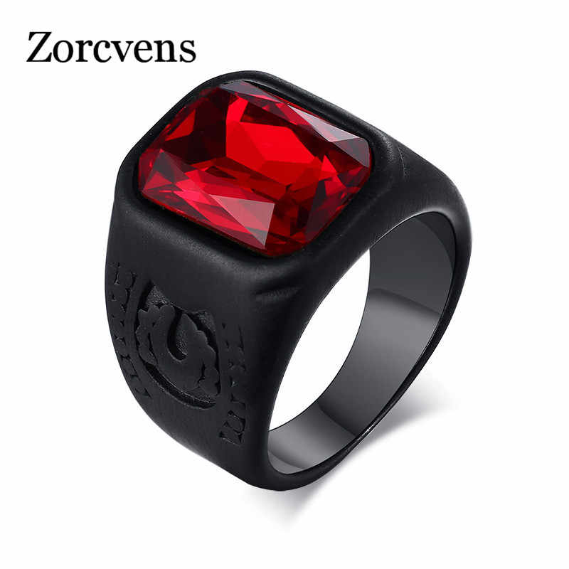 ZORCVENS Punk Men Red Stone Ring Black Stainless Steel anillo masculino Alliance with Red Infinity Stones Male Accessory