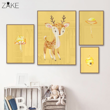 Watercolor Deer Mushroom Poster Kinderkamer Wall Art Prints Canvas Painting Picture for Kids Bedroom Decoration