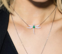 Monaco design Fashion Choker Woman Necklaces Dragonfly pendant pink green candy stone necklace for women collares mujer kolye