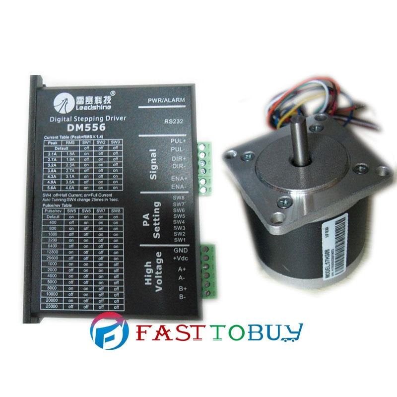 цена на Leadshine NEMA23 57mm 86ozin 0.6NM 18-50VDC 2phase Stepper motor Drive kits 57HS06+DM556 NEW