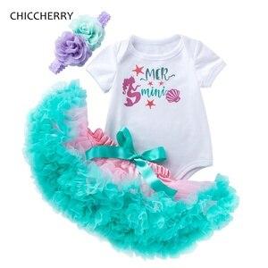 Ensemble Tutu pour anniversaires pour filles   Petite sirène, tenue d'été en dentelle, avec bandeau, pour enfants