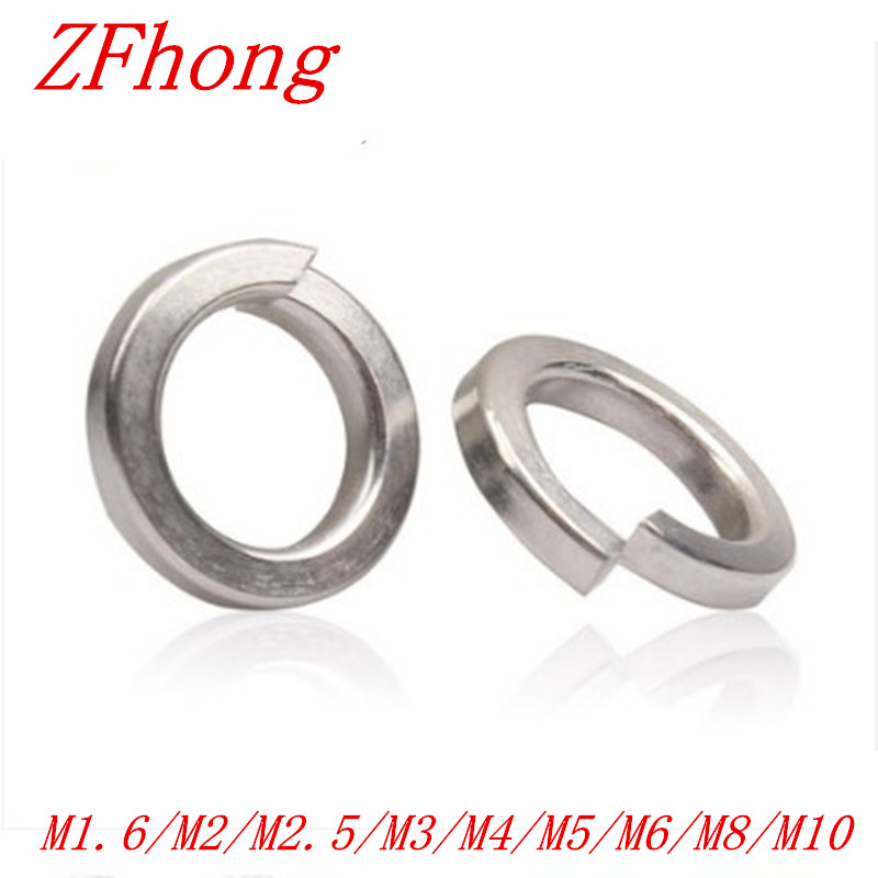 50pcs//lot M1.6 M2 M2.5 M3 M4 M5 M6 M8 M10 M12 A2 Stainless Steel Split Lock Washers Spring Medium DIN127 M2.5