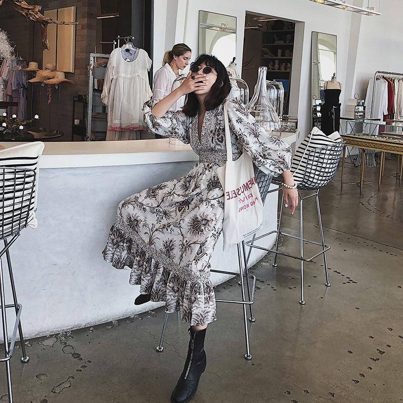 Mujeres Las 2019 Pista Impreso Con Alta De Verano Lino Maxi V Nueva En Vestidos Cuello Diseñador Short Volantes Calidad tqE8xqw