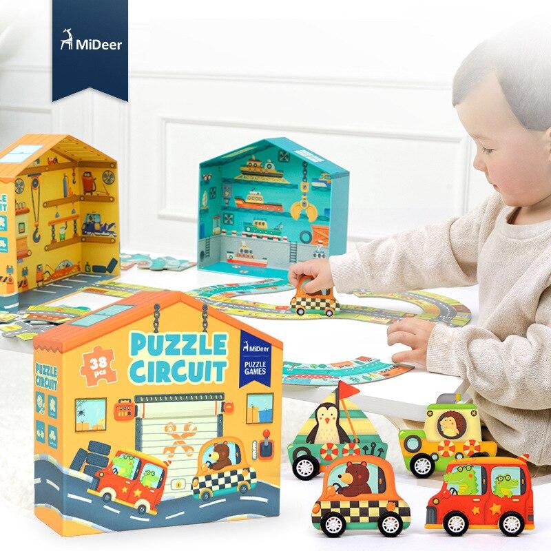 Mideer Enfants 3D Grand Papier Puzzle Jeux 38 pcs Puzzle Circuit Trafic Circulaire orbite Bébé Intelligence Jouets Éducatifs