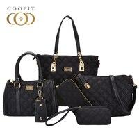 Coofit Womens Luxury Nylon 6 Pieces Totes Bags Single Shoulder Bag Versatile Portable Handbags Wristlet Clutch