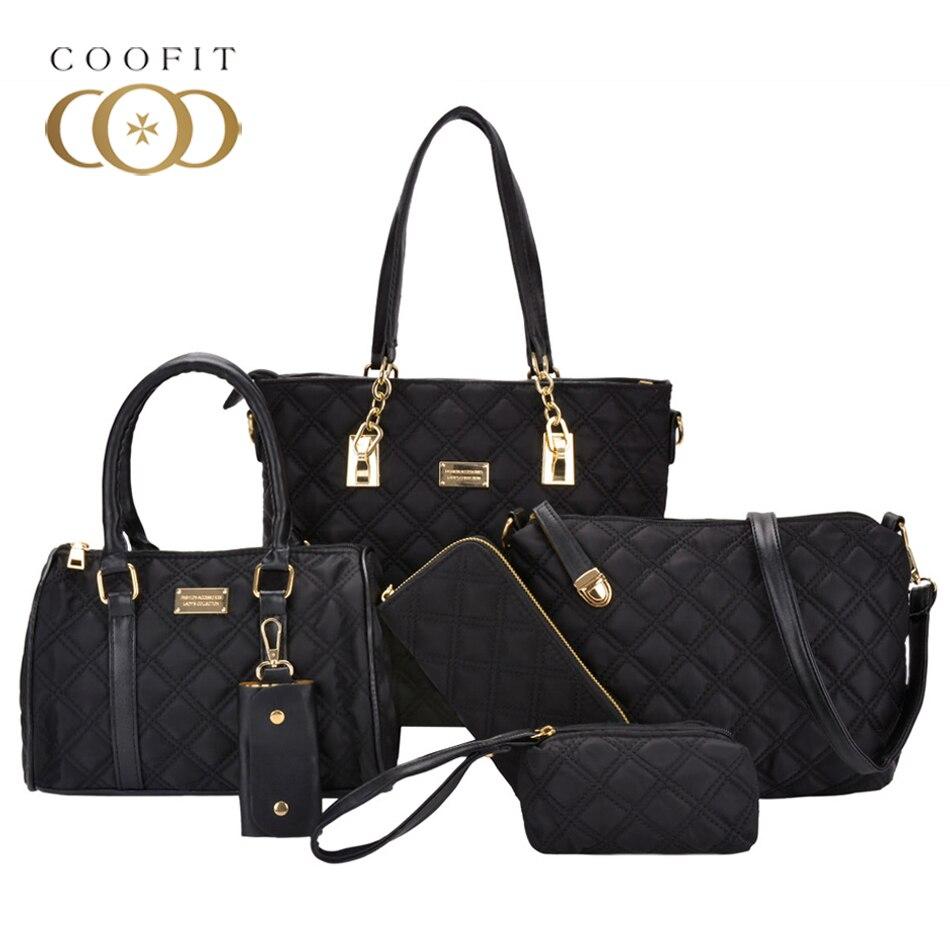 Coofit nouvelle marque de luxe dame sac à main 6 pièces/ensemble sacs composites ensemble femmes Nylon épaule sac à bandoulière femme sac à main pochette portefeuille