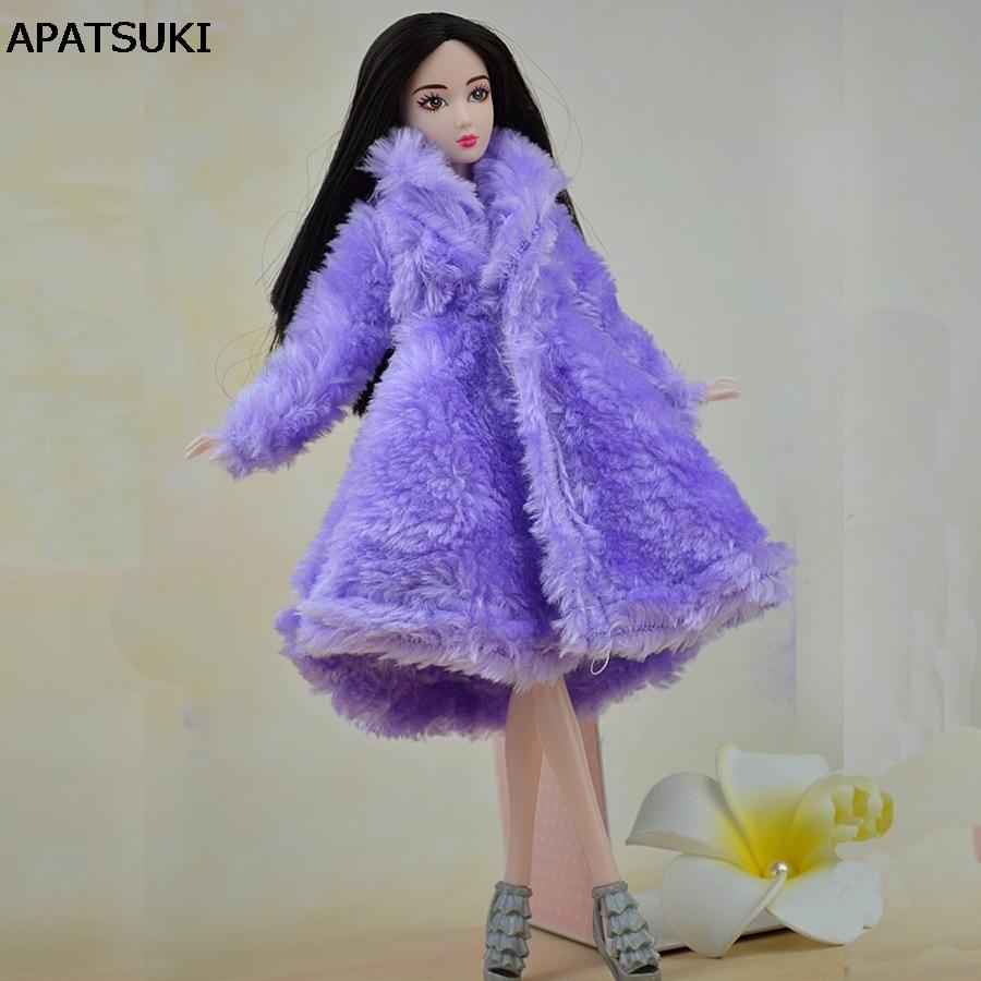 Toy Doll Accessoarer Vinter Warm Wear Överrock Purple Fur Coat Mini - Dockor och tillbehör - Foto 1