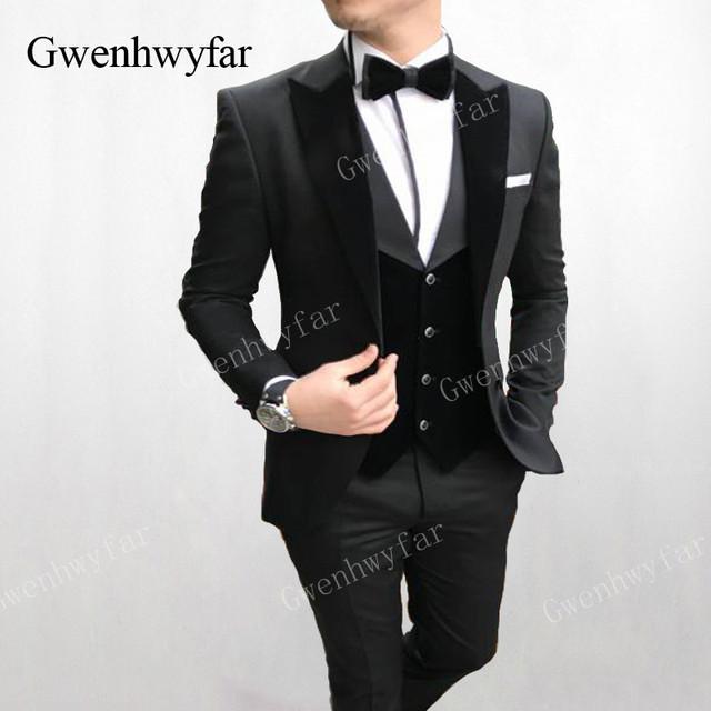 Gwenhwyfar Formal Men Suits Army Green 2019 Slim Fit Velvet Lapel Groom Suit Mens Tuxedo Blazer Wedding/Prom Suits 3 Pieces