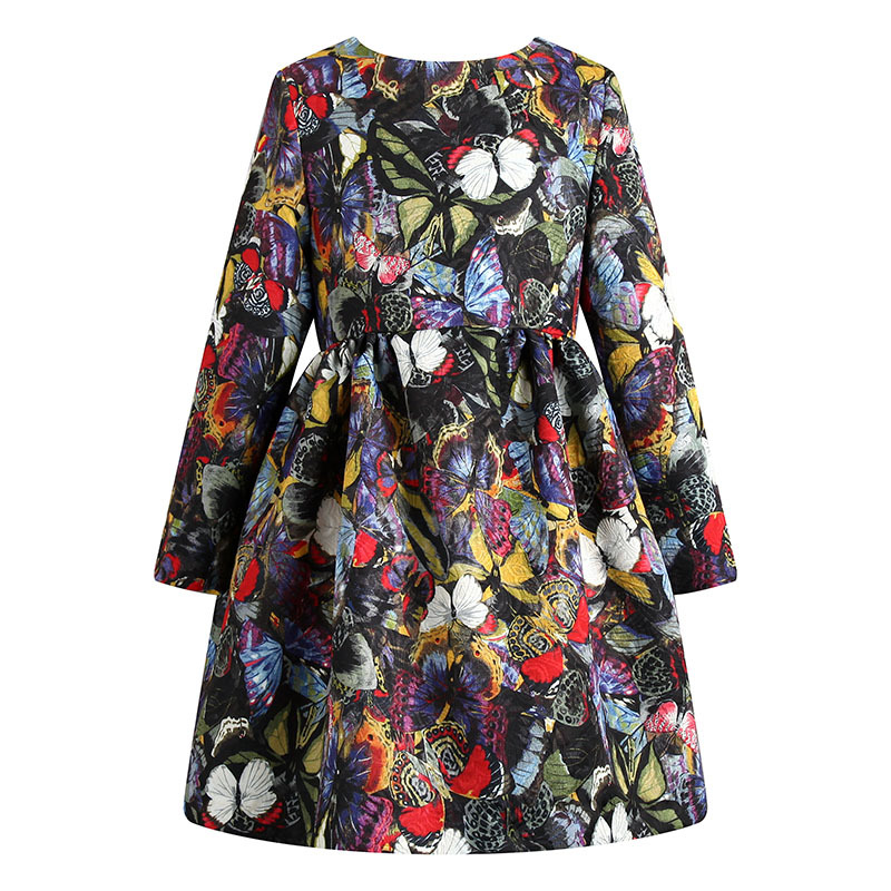 ФОТО Baby Girls Long Sleeve Floral A-line Dress Kids Children O-neck Fashion Princess Ball Gown Flower Girl Party Dresses