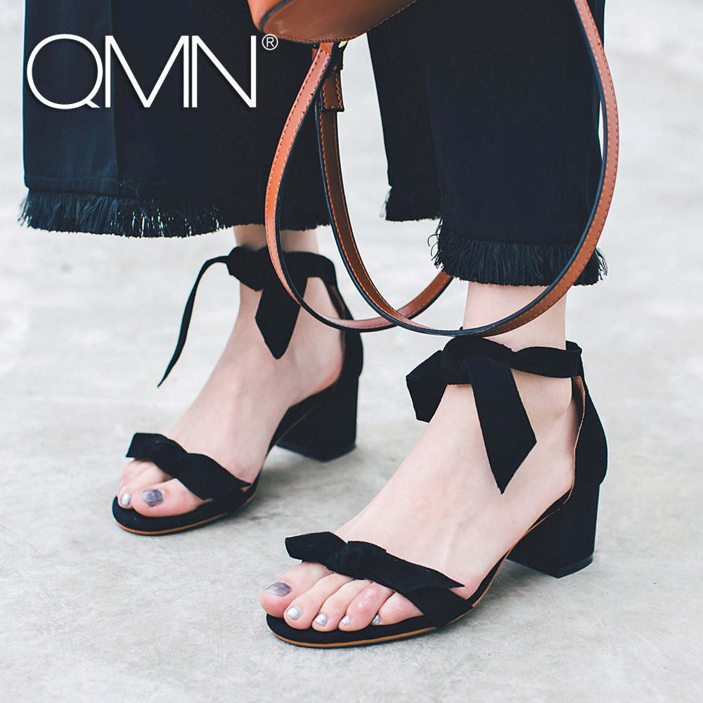 QMN women genuine leather sandals Women Bow Embellished Natural Suede Sandals Ankle Wrap Summer Leisure Shoes Woman 34-42 qmn women crystal embellished natural suede brogue shoes women square toe platform oxfords shoes woman genuine leather flats