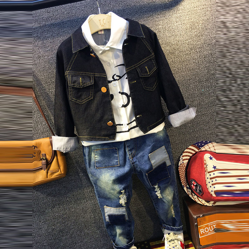 Summer Children Baby Boys Kids Denim jacket coat+long Sleeve shirt Tops+Patch Denim Jeans Pants 3 pcs Clothes Set Suit Y2562 3 pcs boys denim jacket long sleeve t shirt jeans autumn new 2017 children fashion casual clothes sets factory outlet brand