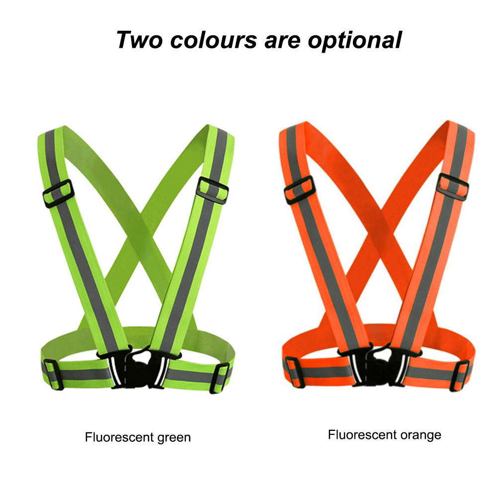 Reflective Vest With High Visibility Tape Multi-Purpose Bands Adjustable Elastic Safety Belt For Cycling Motorcycle Dog Walking