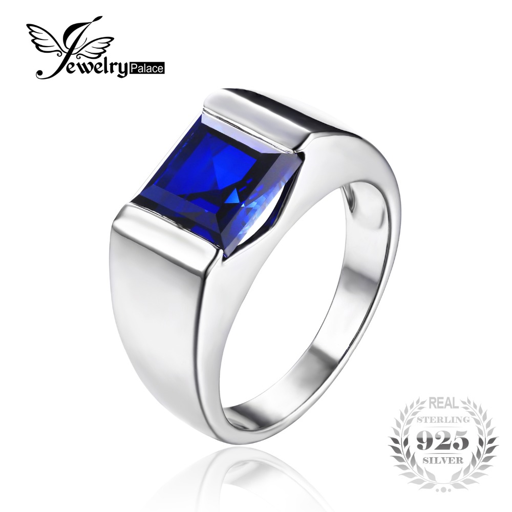 JewelryPalace Men s Square 3 3ct Blue Created Sapphires Engagement Ring Solid 925 Sterling Sliver Fine