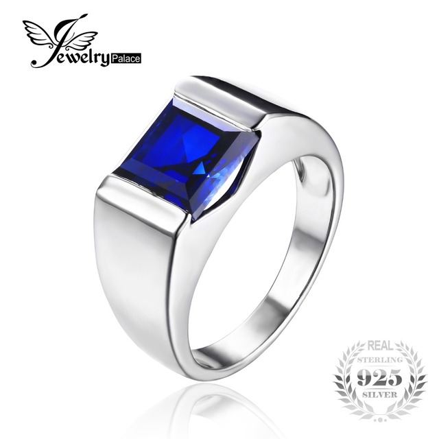 JewelryPalace Men's Square 3.3ct Blue Created Sapphires Engagement Ring Solid 925 Sterling Sliver Fine Jewelry Brand New Gift