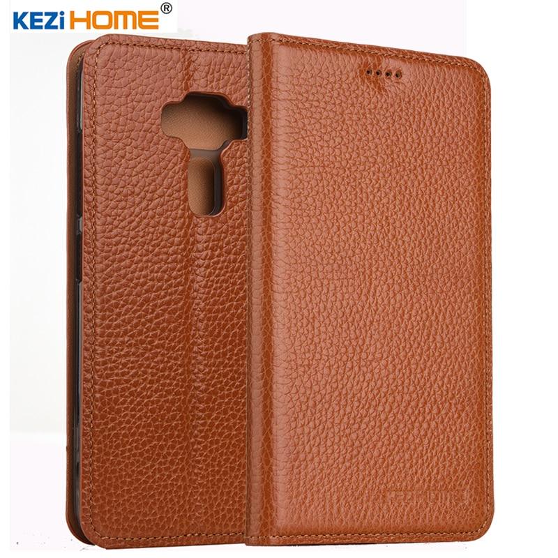 imágenes para KEZiHOME para ASUS Zenfone 3 caso Del Tirón Del cuero genuino ZE520KL cubierta posterior de silicona suave para ASUS Zenfone 3 ZE520KL