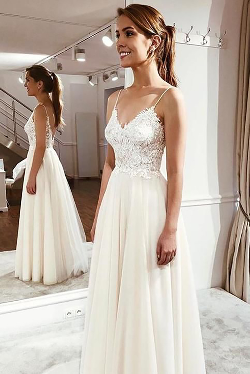 LORIE Beach Wedding Dress 2019  Spaghetti Straps Top Lace Boho Bride Dress Sexy Appliques Wedding Gown Custom Made Vestido De