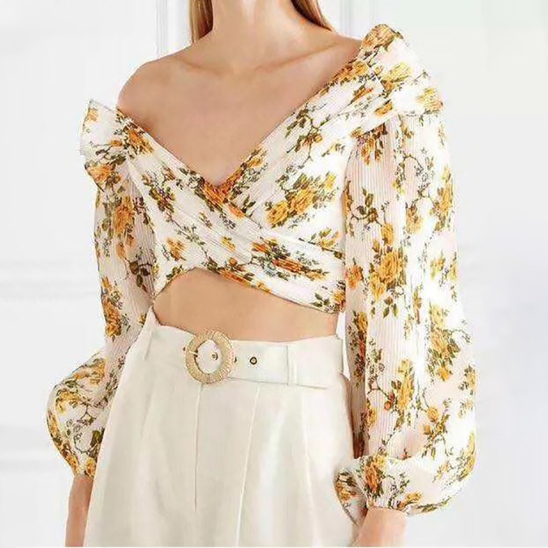 2019 Women's Unique Design Folded Short Top Casual Print Shirt For Women Puff Sleeve Off Shoulder Irregular Crop Tops Female