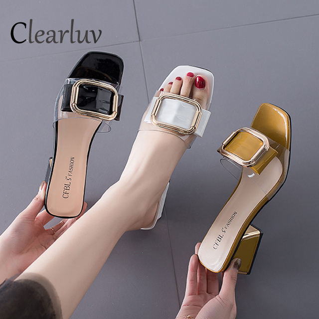 Slippers female summer fashion wear new Korean version of the metal buckle high heeled anti skid sandals banquet wedding shoes in Middle Heels from Shoes