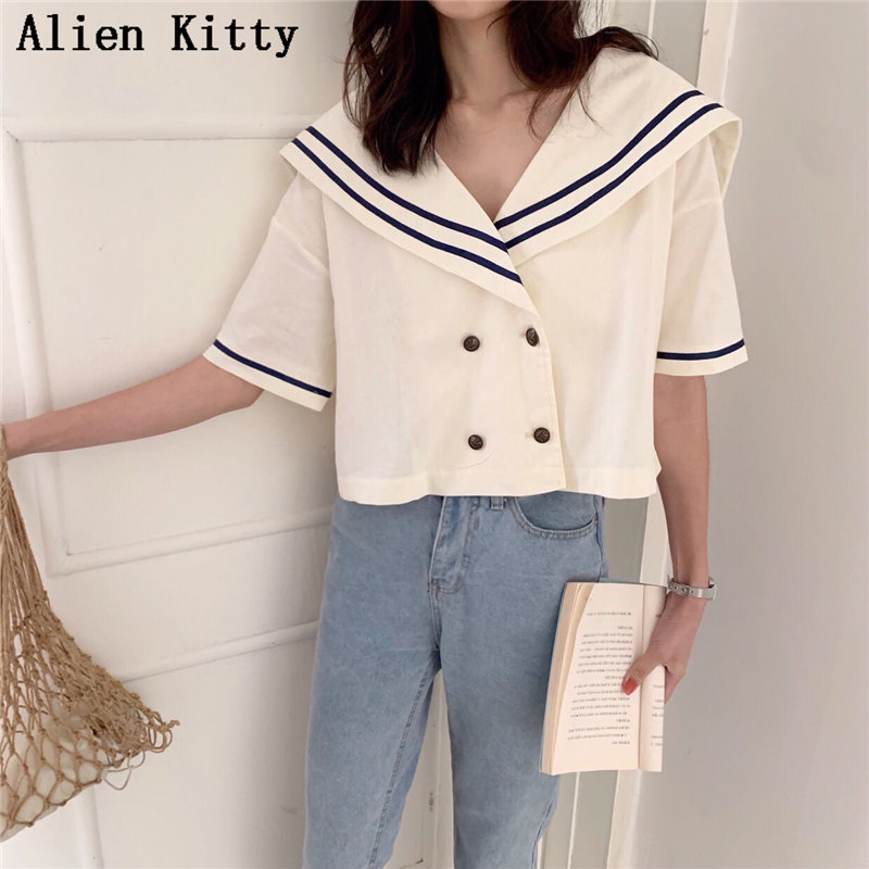 Alien Kitty Cute Navy Style 2019 Summer Fresh Simple Sailor Collar Sweet Patchwork Casual Short Sleeves Free Milk White  Shirt
