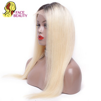 Facebeauty 150% Density 1B613 Remy Weft Weave Wig Piece European Russian Blonde Ombre Human Hair Lace Front Wig with Baby Hair