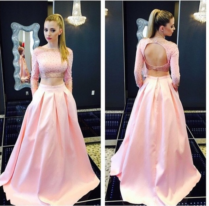 b527d63eb03cb Hot Sale Pink Satin Long Sleeves Two Piece Long Prom Dress 2018 A-Line  Beaded Sexy Open Back Evening Gown Sweep Train Party Gown