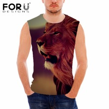 FORUDESIGNS 3D Cool Animal Lion Printing Men's Tank Top Summer Sleeveless Bodybuilding Fitness Man Brand Clothing Chaleco Hombre