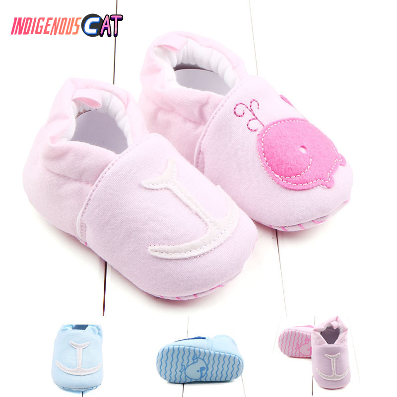 Newborn Shoes Lovely Boy Girls Toddler First Walkers Baby Round Toe Flats Soft Slippers Warm 0-2 Years