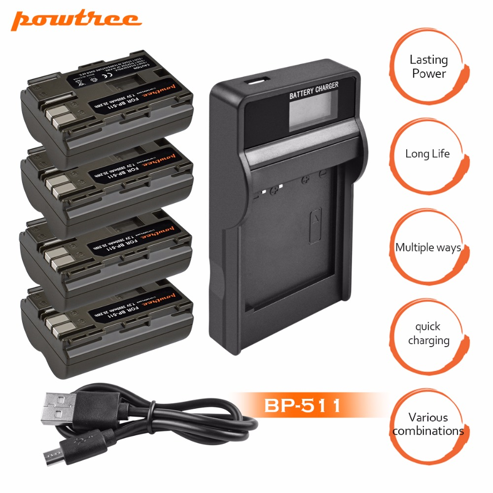 4Packs 2800MAH AKKU BP-511 BP 511 BP511 BP511A Battery + LCD USB Charger for Canon EOS 40D 300D 5D 20D 30D 50D G6 G5 G3 G L10 bp 511 bp511 camera battery 1x charger for canon eos 30d 20d 10d 300d d60