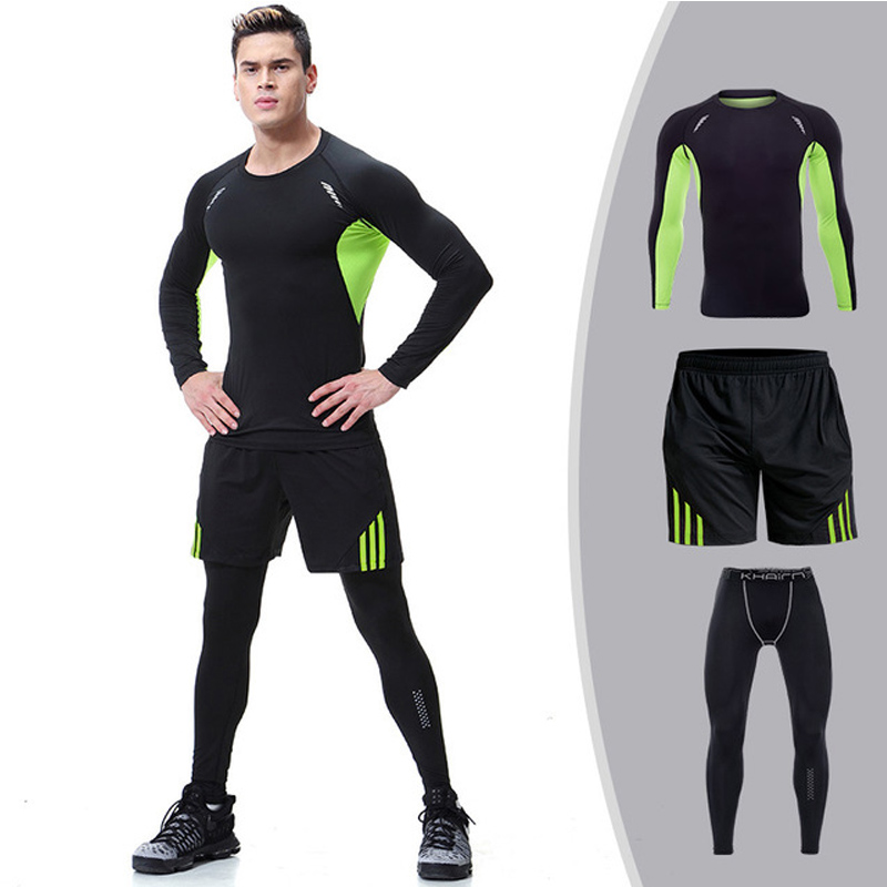 Quick Dry Sports Suits Gym Workout Clothing For Mens Compression Set Elastic Tight Jogging Sportswear Running Tracksuit Male in Running Sets from Sports Entertainment
