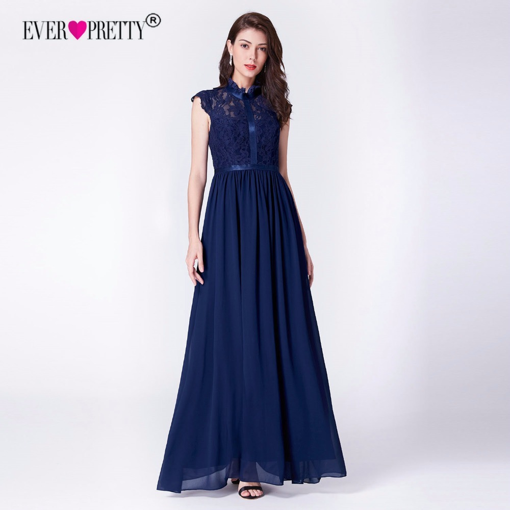 Navy Blue   Bridesmaid     Dresses   Ever Pretty Elegant A Line High Neck Sleeveless Lace Long Formal Party Gowns For Wedding Guest 2019