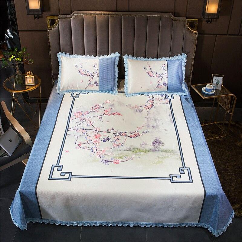 Couverture de protection de matelas de décoration à volants nordiques lavable dessus de lit feuille de fleur glace soie douce été adulte tapis de lit de couchage