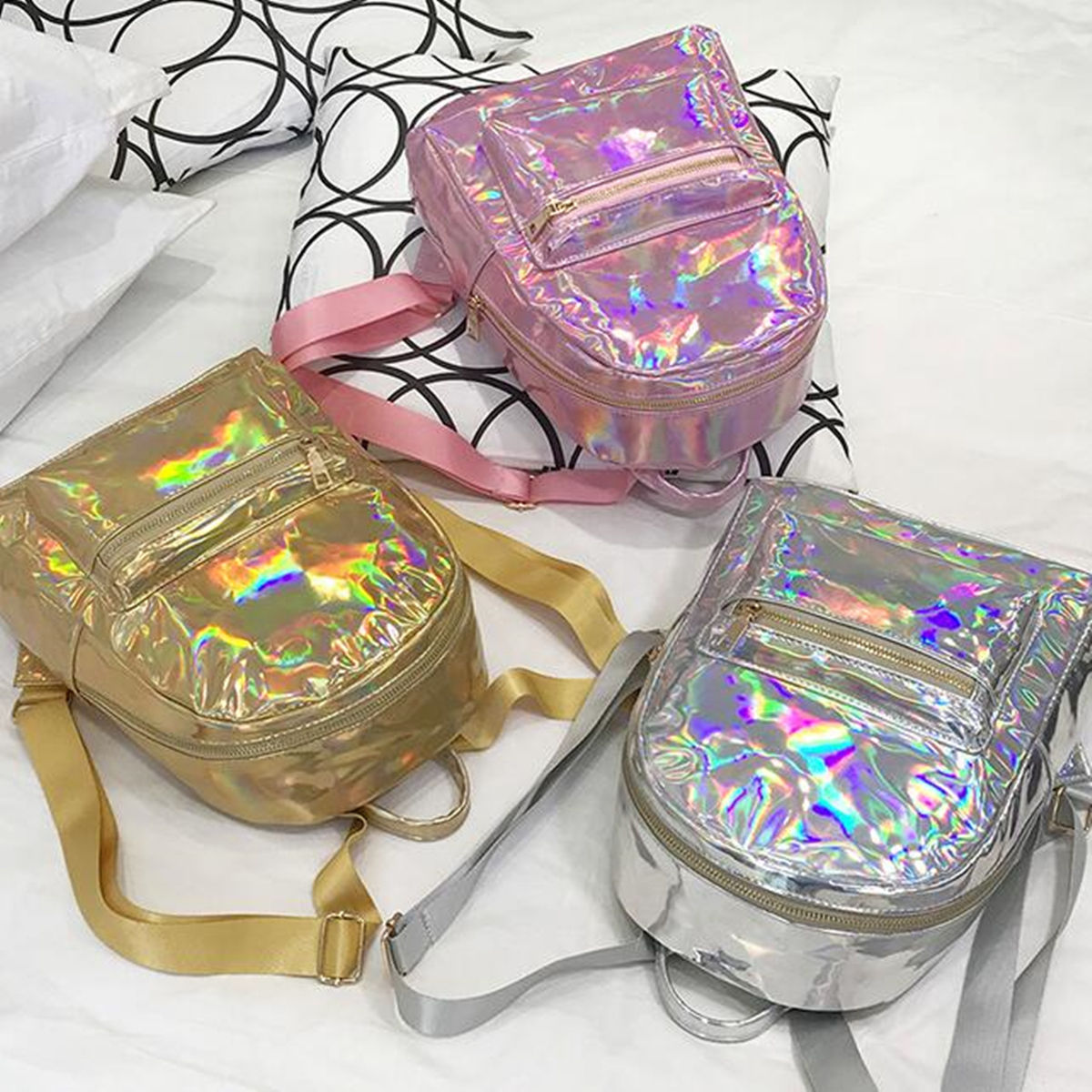 Silver Gold Pink Laser Backpack Women Girls Bag Leather Holographic Backpack   School Bags For Teenage Girls #2