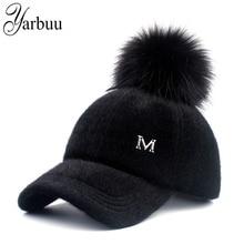 цена на [YARBUU] New brand baseball caps 2017 winter cap for women Faux Fur pompom ball cap Adjustable Casual Snapback hat cap