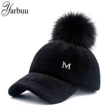 c5351d360a5db  YARBUU  New brand baseball caps 2017 winter cap for women Faux Fur pompom  ball