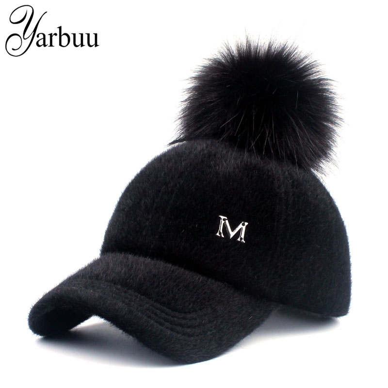 [YARBUU] New brand   baseball     caps   2017 winter   cap   for women Faux Fur pompom ball   cap   Adjustable Casual Snapback hat   cap