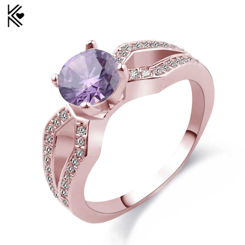 Female Mystery Purple/Champagne Ring Fashion Style Rose Gold Filled Jewelry Vintage Wedding Rings For Women 2017 New Year Gifts