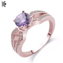 Female Mystery Purple/Champagne Ring Fashion Style Rose Gold Filled Jewelry Vintage Wedding Rings For Women 2017 New Year Gifts(China)